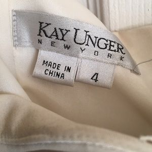 Kay Unger white strapless dress